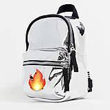 Женский маленький голографический блестящий мини рюкзак серебряный, фото 4