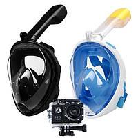 ДВЕ Маски для плавания Черная и Голубая FREE BREATH + Экшн камера