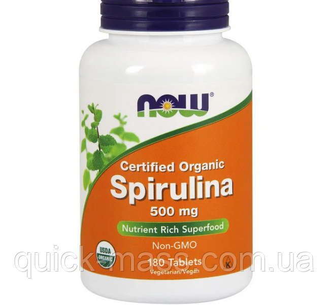 Спирулина NOW Spirulina 500 mg 180tab