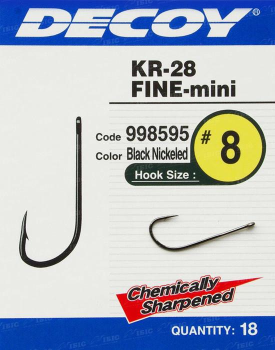Крючок Decoy KR-28 Fine Mini #8 (18 шт/уп)