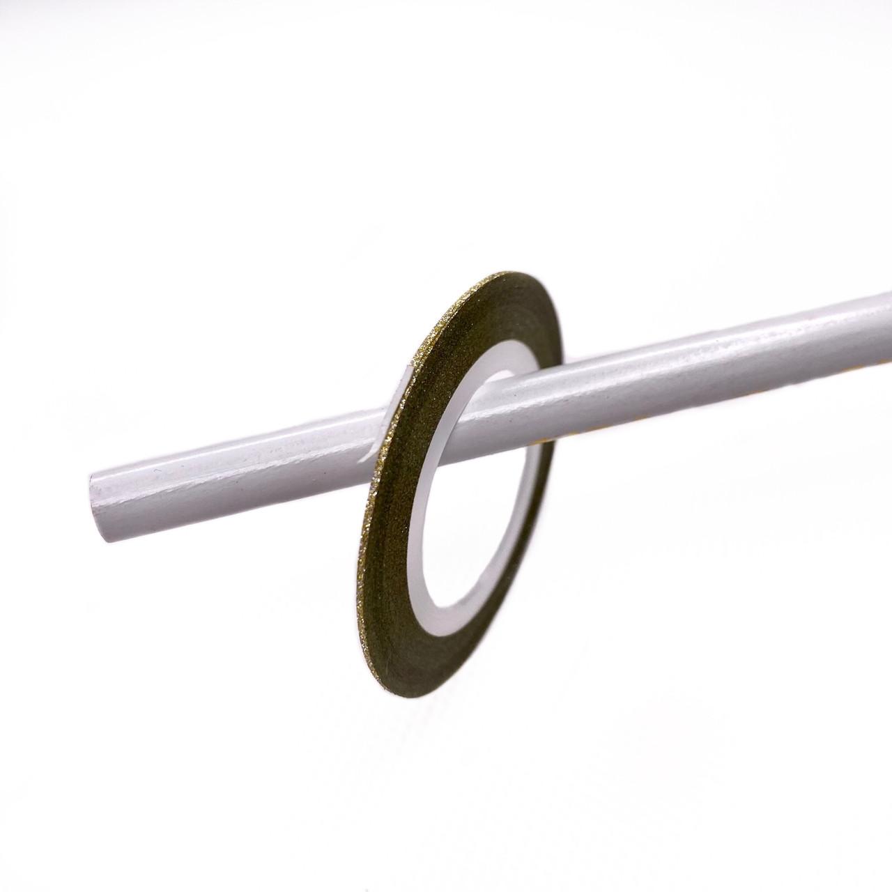 Лента-скотч для дизайна ногтей липкая (золото блеск) 1 мм