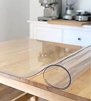 Мягкое стекло Силиконовая защитная скатерть для стола и мебели Soft Glass (1.5х1.0м) Толщина 1.5мм Прозрачная