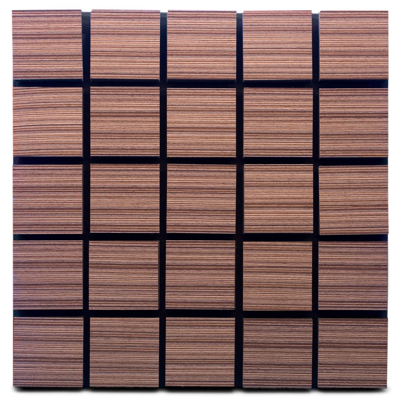 Акустическая панель Ecosound Tetras Wood Venge Contrast 50x50см 73мм цвет коричневый в полоску