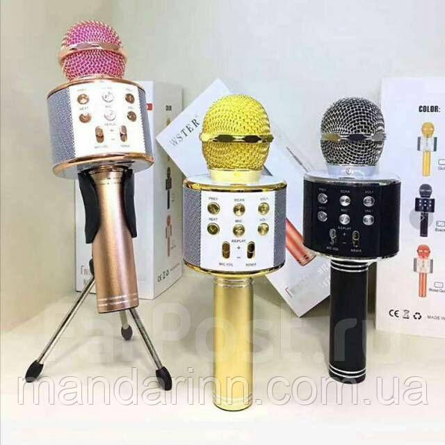 Портативний мікрофон-караоке колонка бездротовий WS-858, Bluetooth