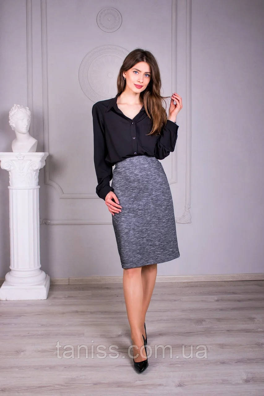 """Жіноча класична спідниця """" Афіна """", тканина трикотаж , р-р 44,64,48,50,52,54 , сірий, спідниця"""
