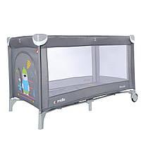 Детская кровать-манеж складная с матрасом CARRELLO Piccolo Ash Grey Original