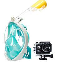 Маска для плавания Зеленая (S/M) FREE BREATH + Экшн камера