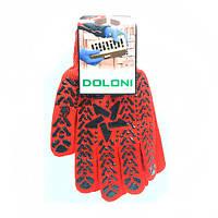 Перчатки DOLONI  Х/Б Красная с черным 7 класс 11 размер