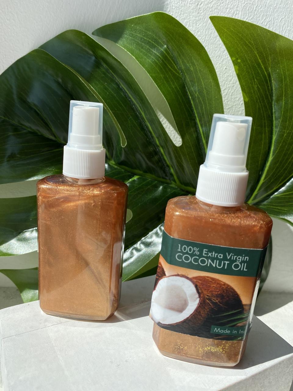 Кокосовое масло для тела с шиммером для загара 100% Extra Virgin Coconut Oil