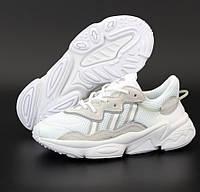 Женские кроссовки Adidas Ozweego белые рефлективные. Фото в живую. Реплика