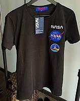 Мужская футболка NASA хлопок с принтом летняя молодежная черная Турция. Живое фото. Топ качество, фото 1
