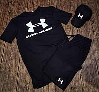 Мужской комплект летний футболка + шорты костюм летний Under Armour черный Турция. Живое фото, фото 1
