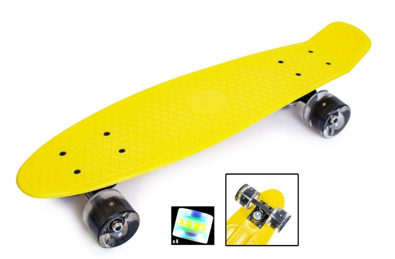 Пенни борд 22 дюйма Penny Board Светящиеся колеса Скейт 57х15 см пластиковый до 80 кг Желтый