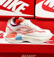 Женские кроссовки Nike Vista Lite белые с оранжевым летние в сетку. Живое фото. Реплика