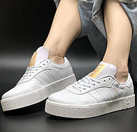 Женские кроссовки Adidas Samba кожаные белые с золотом. Живое фото. Реплика