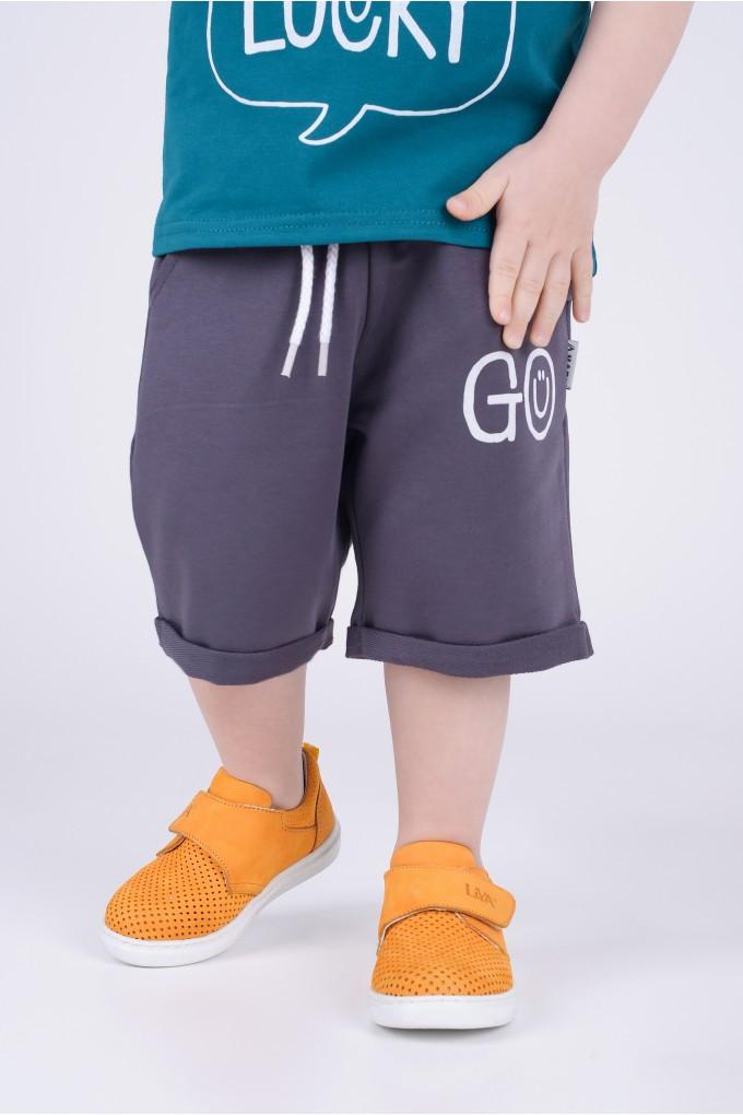 Шорты  для мальчика Go Hart (рост 98) цвет графит (до колена)