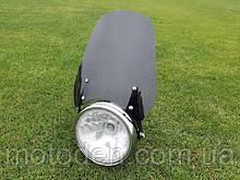 Ветровое стекло для мотоцикла под круглую фару (высота 25см) темное
