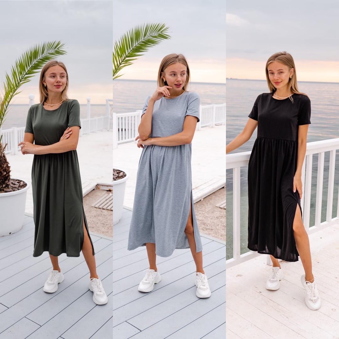 Плаття літнє повсякденне легке з розрізом
