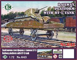 """Сборная модель """"Железнодорожная платформа с танком БТ - 5"""""""