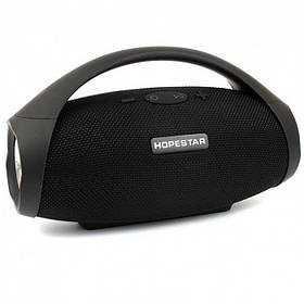 Беспроводная Портативная Вluetooth Колонка Hopestar H32 Чёрный (10 Вт, USB, AUX) Сабвуфер, MP3, Радио FM, Микрофон, Функция Power Bank (47155)