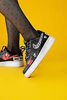 """Кроссовки женские Nike Air Force 1 Low """"Just Do It"""" Black (найк аир форс джаст ду ит черные)"""