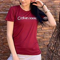 Женская бордовая футболка Calvin Klein короткая S/M, Турция