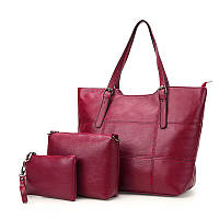 Набор женских сумок 3 в 1 большая сумка, кошелек и маленькая сумка, бордовая