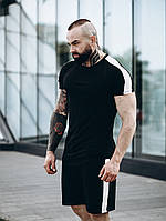 Футболка + шорты комплект набор костюм мужской летний модный стильный черный с белыми лампасами Asos, фото 1