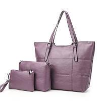 Набор женских сумок 3 в 1 большая сумка, кошелек и маленькая сумка, фиолетовая