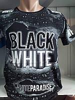 3д Футболка Чоловіча, Black White, Двостороння, з Яскравим Принтом