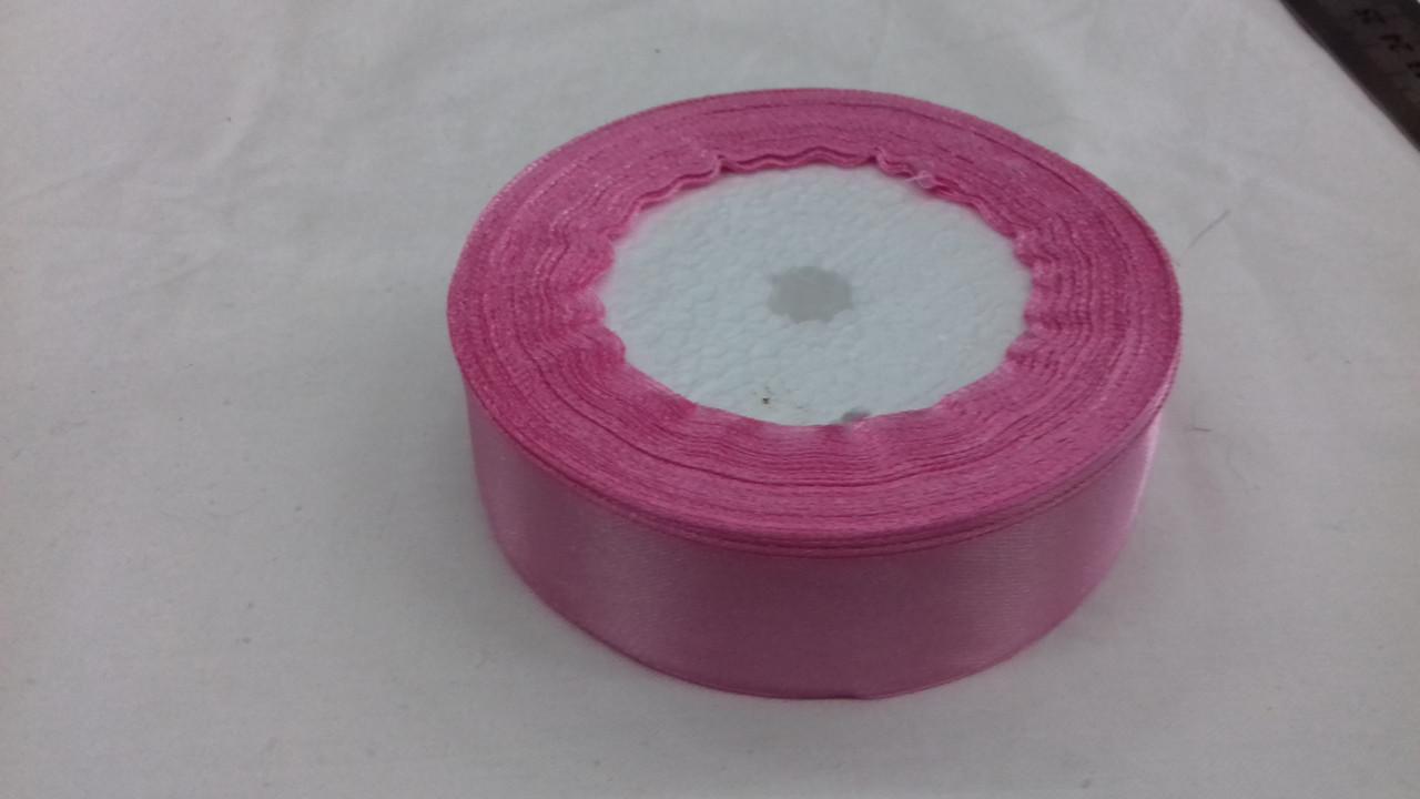 Атласная лента 25 мм розовая