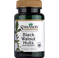 Черный орех, Swanson, 60 капсул, противовирусное и противопаразитарное средство . Black walnut hulls