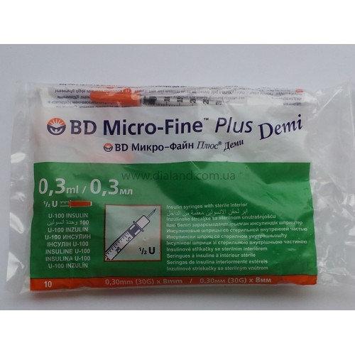 Шприцы Micro-Fine Plus Demi (Микро Файн Плюс) 0,3 мл (30G) 3 упаковки (10 шт/уп), срок до 05.2024 г.