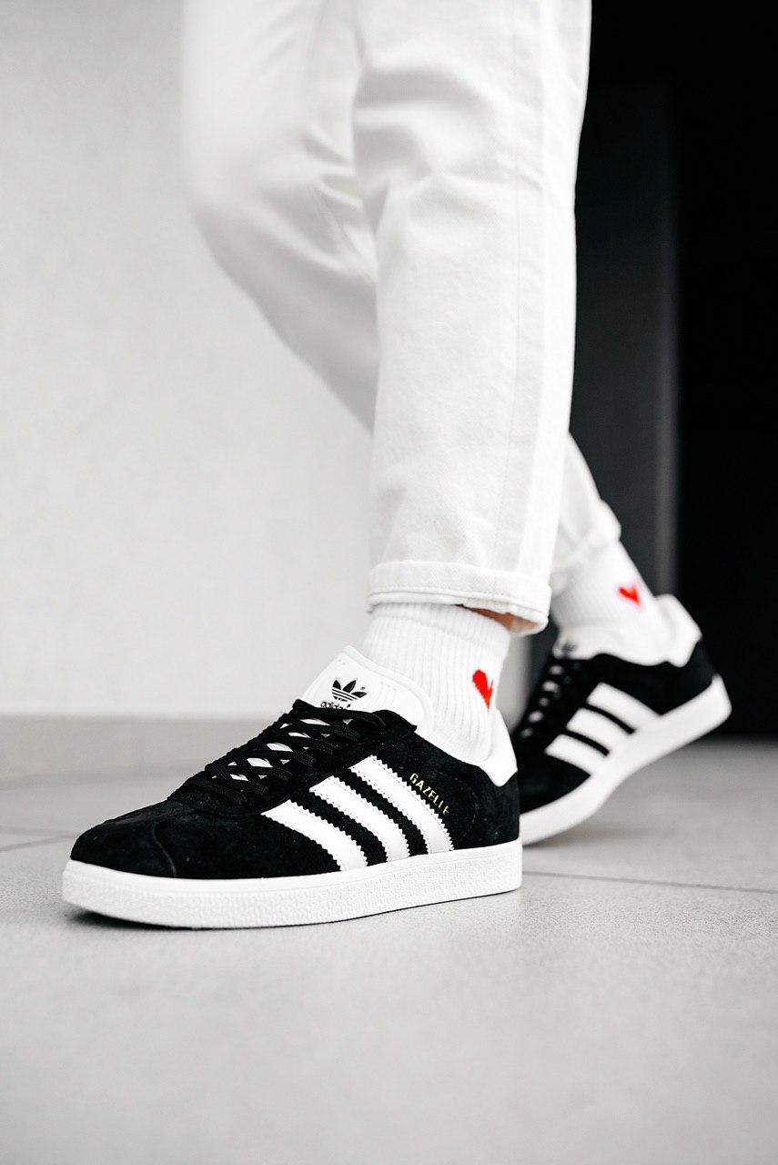 Кроссовки мужские Gazelle Black White-Gold Metallic (W)