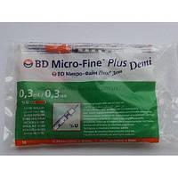 Шприцы Micro-Fine Plus Demi (Микро Файн Плюс) 0,3 мл (30G) 4 упаковки (10 шт/уп), срок до 05.2024 г.