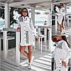 Р 42-56 Біла сорочка - туніка з написами Батал 21846-1