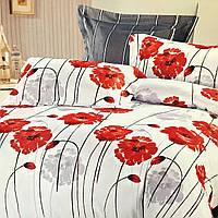"""""""Красные маки"""" Евро размер постельное белье ELWAY (Польша), 200/220 см, ткань сатин (100% хлопок)."""