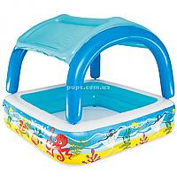 Надувной бассейн BestWay с навесом и съёмной крышей, 147х147х122 см, 265 литров (52192)