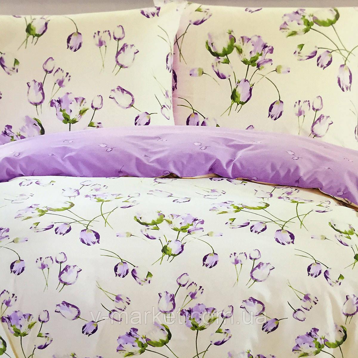"""""""Тюльпани"""" Євро розмір постільна білизна ELWAY (Польща), 200/220 см, тканина сатин (100% бавовна)."""