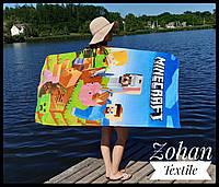 Детское пляжное полотенце Майнкрафт 75х150 100% хлопок  , Турция