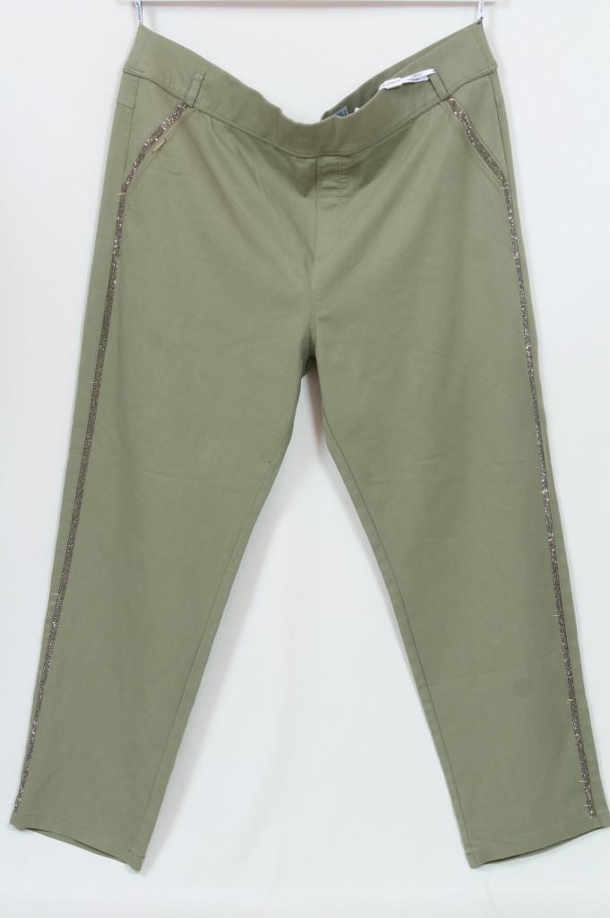Турецкие женские летние брюки с лампасами из страз, размеры 48-64