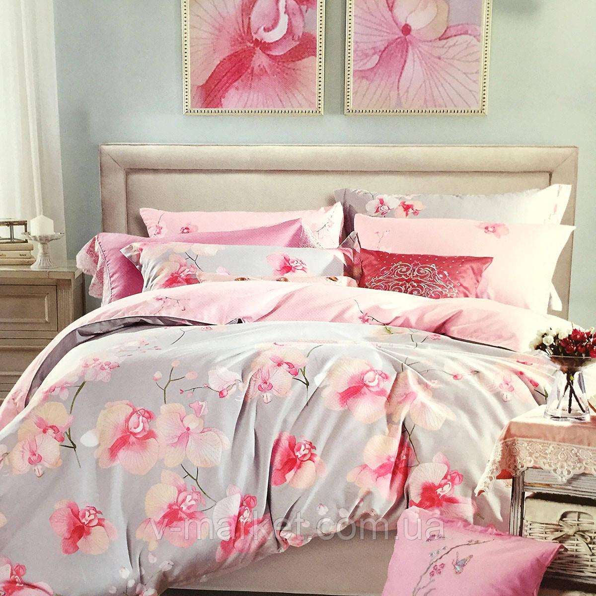 """""""Орхидеи"""" Евро размер постельное белье ELWAY (Польша), 200/220 см, ткань сатин (100% хлопок)."""