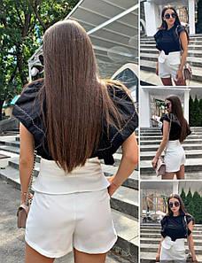 Женские шорты (Фабричный Китай), качество люкс, высокая посадка, есть карманы.