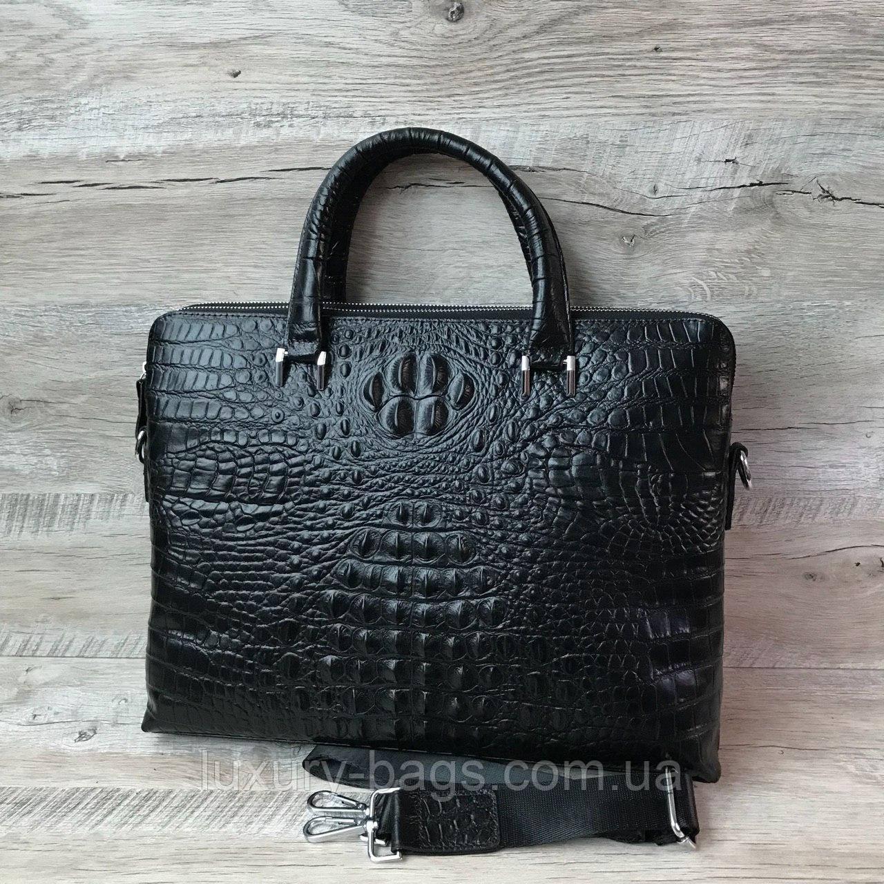 Чоловічий шкіряний портфель з виробленням під крокодила