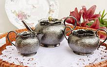 Англійська посріблений сервіз, чайник, молочник і цукорниця, сріблення, Англія, John Cockburn