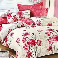 """""""Цветы"""" Евро размер постельное белье ELWAY (Польша), 200/220 см, ткань сатин (100% хлопок)."""