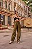 Женские широкие льняные брюки размеры 42-52, фото 4