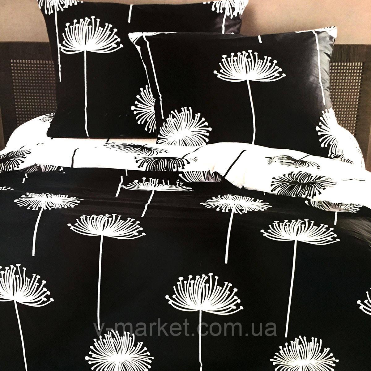 """""""Одуванчики"""" Евро размер постельное белье ELWAY (Польша), 200/220 см, ткань сатин (100% хлопок)."""