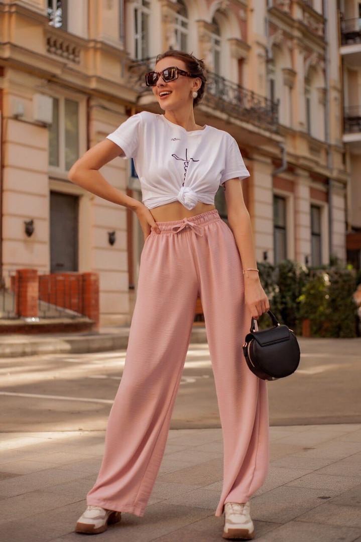 Женские широкие льняные брюки размеры 42-52