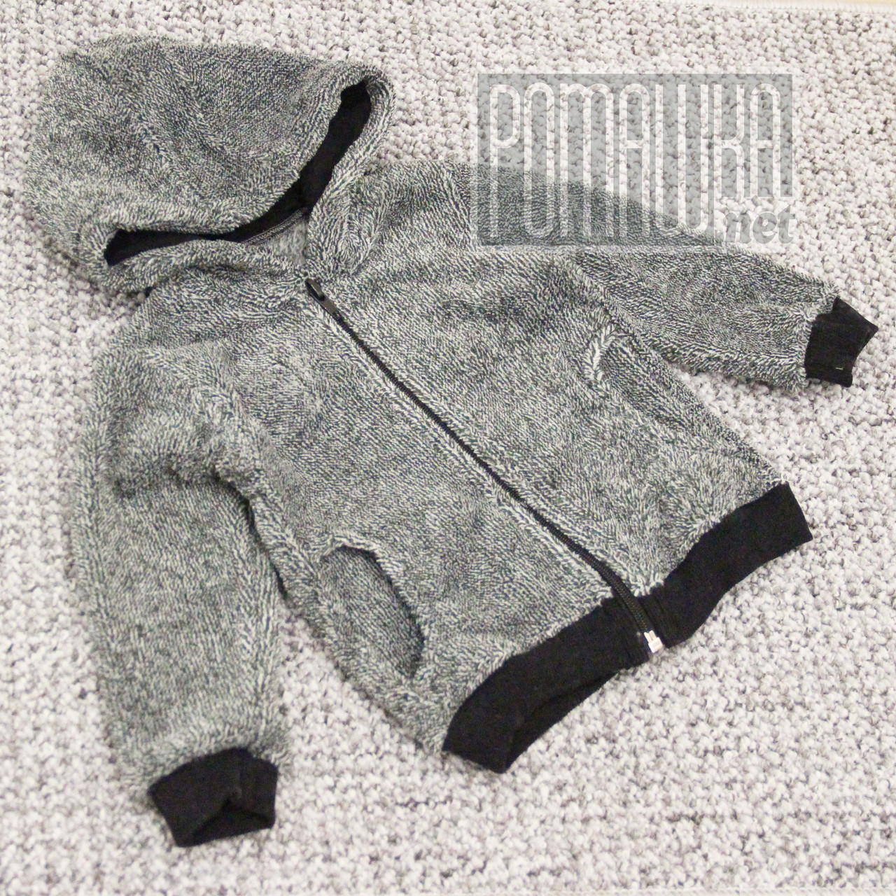 Детская махровая кофта для мальчика р. 80-86 8-12 месяцев на молнии ткань ВЕЛСОФТ 100% хлопок 3952 Серый 80